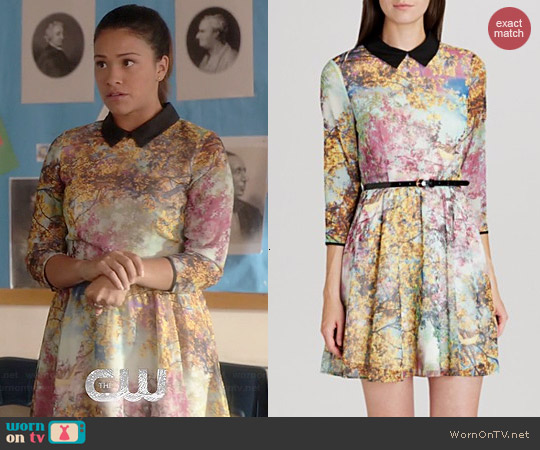 Ted Baker Eponi Pretty Trees Print Dress worn by Gina Rodriguez on Jane the Virgin