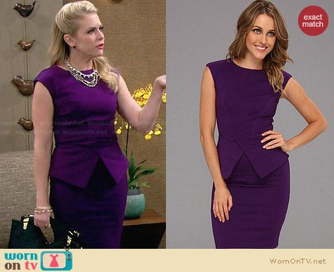Ted Baker Evvie Dress in purple worn by Melissa Joan Hart on Melissa & Joey
