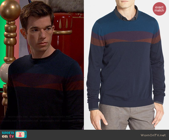 Ted Baker Farlie Sweater in Navy worn by John Mulaney