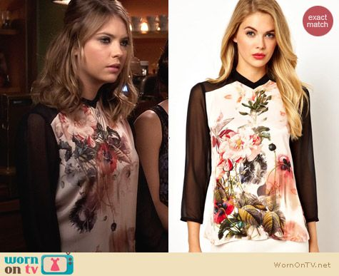 Ted Baker Floral Ivor Blouse worn by Ashley Benson on PLL