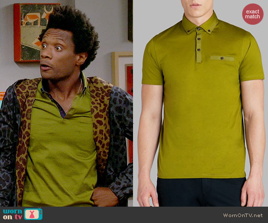 Ted Baker Grainyo Polo in Bright Green worn by Seaton Smith on Mulaney