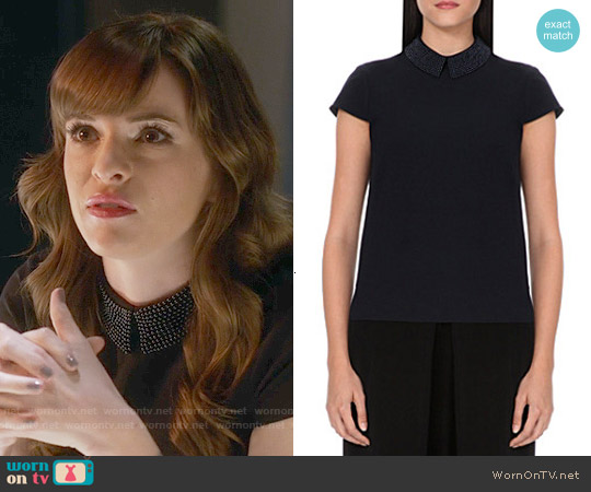 Ted Baker Hellia Top in Navy worn by Danielle Panabaker on The Flash