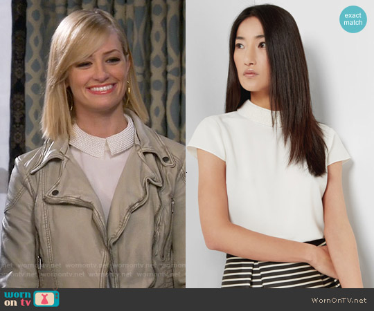 Ted Baker 'Hellia' Embellished Collar Top worn by Beth Behrs on 2 Broke Girls