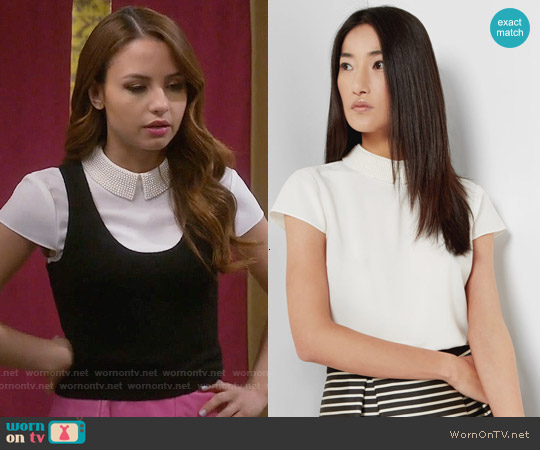 Ted Baker Hellia Embellished Collar Top worn by Aimee Carrero on Young & Hungry