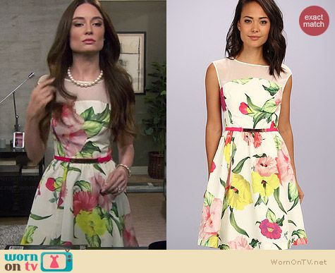 Ted Baker Iberis Flowers at High Tea Dress worn by Mallory Jansen on Young & Hungry
