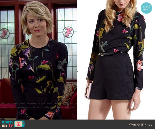 Ted Baker Imia Oriental Playsuit worn by Linsey Godfrey on The Bold & the Beautiful