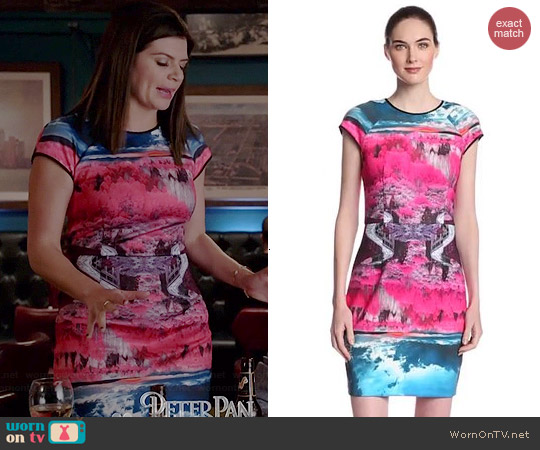 Ted Baker Ismay Road to Nowhere Print Dress worn by Casey Wilson on Marry Me