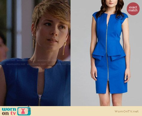 Ted Baker Jamthun Peplum Dress worn by Karine Vanasse on Revenge