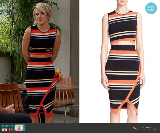 Ted Baker Jeenie Crop Top and Xammie Skirt worn by Linsey Godfrey on The Bold & the Beautiful