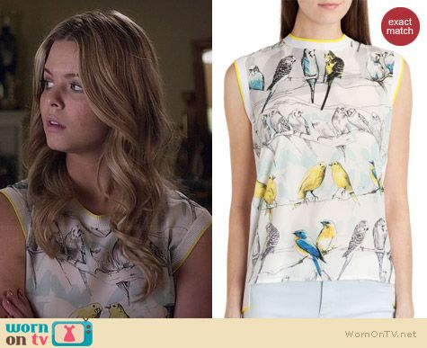 Ted Baker Joliae Canary Print Top worn by Sasha Pieterse on PLL