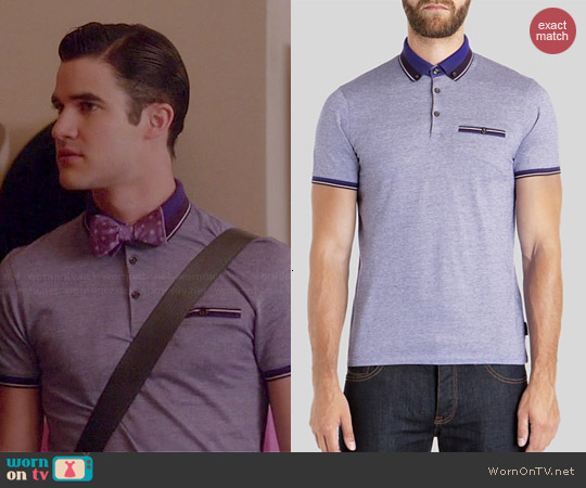 Ted Baker Kyroe Oxford Polo Shirt in Purple worn by Darren Criss on Glee
