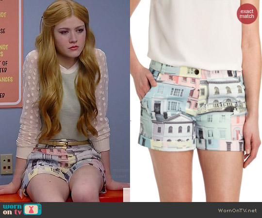 Ted Baker Regency Houses Print Shorts worn by Katherine McNamara on Happyland