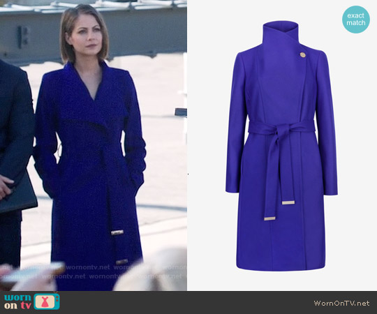 Ted Baker Lorili Coat in Blue worn by Willa Holland on Arrow