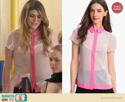 Ted Baker Pink Crepe Peter Pan Collar top worn by Molly Tarlov on Awkward