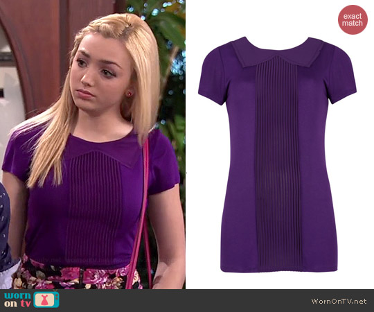 Ted Baker Pintuck Collar Pleated Panel Top worn by Peyton List on Jessie