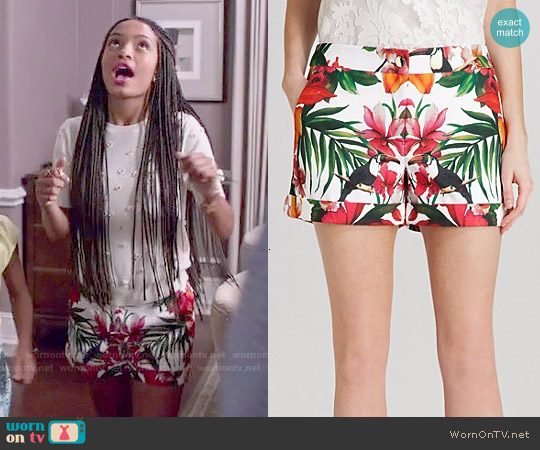 Ted Baker Quellia Tropical Toucan Print Shorts worn by Zoey Johnson on Blackish