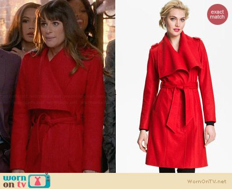 Ted Baker Red Wrap Coat worn by Lea Michele on Glee