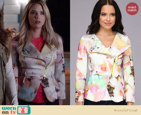 Ted Baker Saamsa Floral Jacket worn by Ashley Benson on PLL