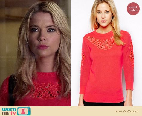 Ted Baker Talula Embroidered Jumper worn by Ashley Benson on PLL