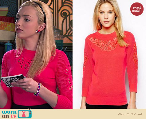 Ted Baker Talula Embroidered Jumper worn by Peyton List on Jessie