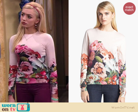 Ted Baker Tangled Floral Print Sweater worn by Peyton List on Jessie