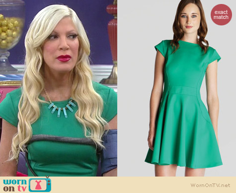Skater Dress With Cap Sleeves   Wornontv  hollys green cap sleeve dress on  mystery girls c415dd1a5