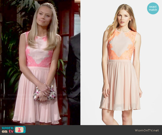 Ted Baker Vember Lace Trim Chiffon Dress worn by Melissa Ordway on The Young & the Restless