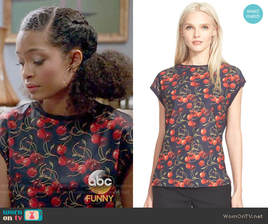 Ted Baker 'Vixxie' Cherry Print Tee worn by Yara Shahidi on Blackish