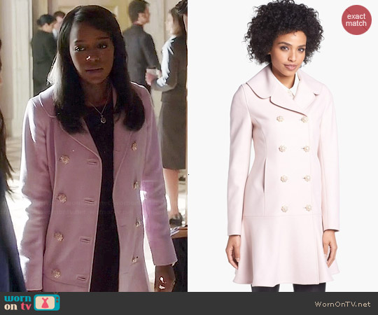 Ted Baker Wool Blend Peplum Hem Coat worn by Aja Naomi King on HTGAWM