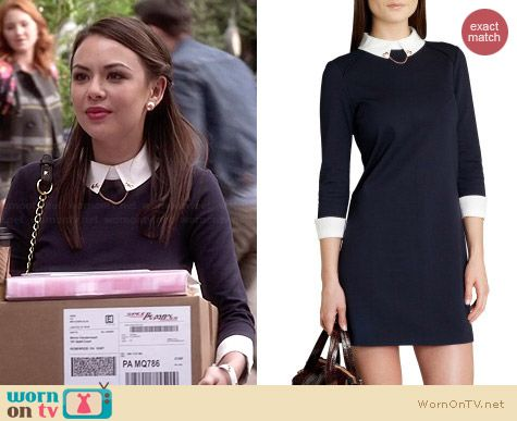 Ted Baker Wubty Contrast Collar Dress worn by Janel Parrish on PLL
