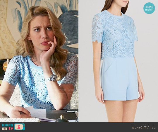 Ted Baker Zasha Lace Romper worn by Yael Grobglas on Jane the Virgin