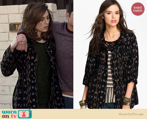 Teen Wolf Fashion: Free People Ikat parka worn by Crystal Reed