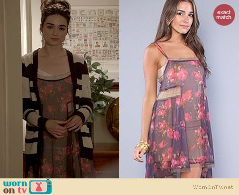 Teen Wolf Fashion: Free People The Poppyfield Slip in Aubergine worn by Crystal Reed