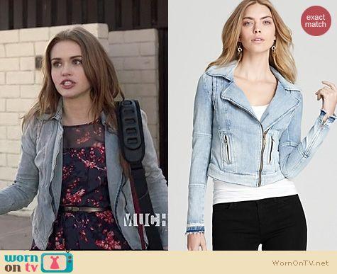 Teen Wolf Fashion: Guess Denim Moto Jacket worn by Holland Roden