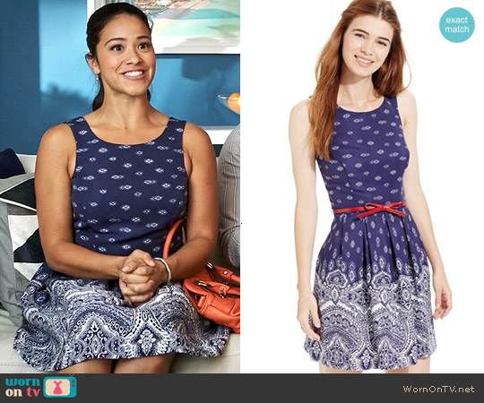 Teeze Me Printed Belted Dress worn by Gina Rodriguez on Jane the Virgin
