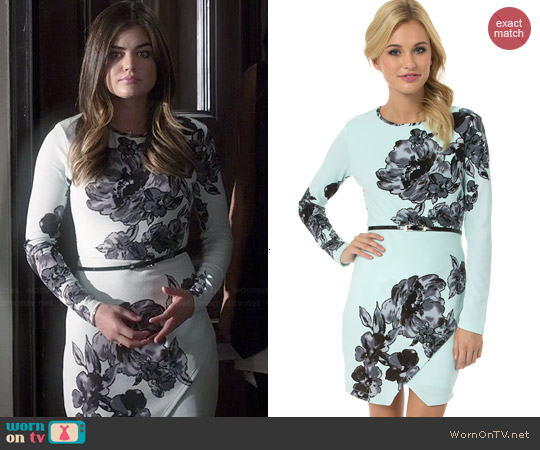 Teeze Me Longsleeve Floral Belted Envelope Dress worn by Lucy Hale on PLL
