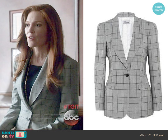 Temperley London Milly Prince of Wales Check Blazer worn by Darby Stanchfield on Scandal