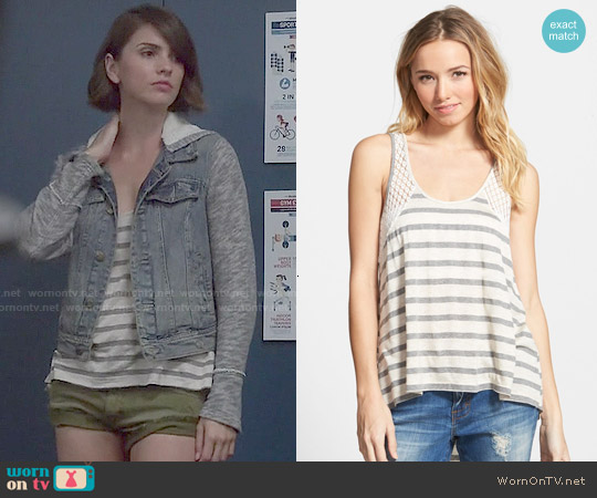 Ten Sixty Sherman Stripe Crochet Inset Tank worn by Shelley Hennig on Teen Wolf