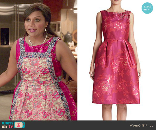 Teri Jon by Rickie Freeman Embellished Floral Jacquard Dress worn by Mindy Kaling on The Mindy Project