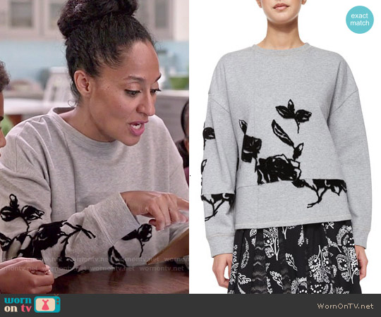 Thakoon Addition Flocked Floral Sweatshirt worn by Tracee Ellis Ross on Blackish