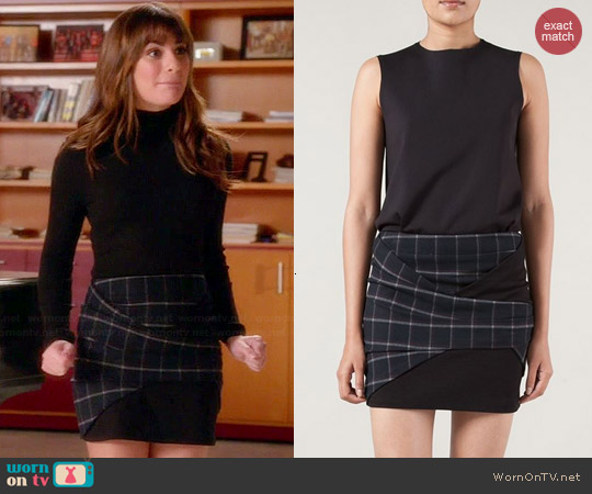 Thakoon Addition Wrapped Plaid Mini Skirt worn by Lea Michele on Glee