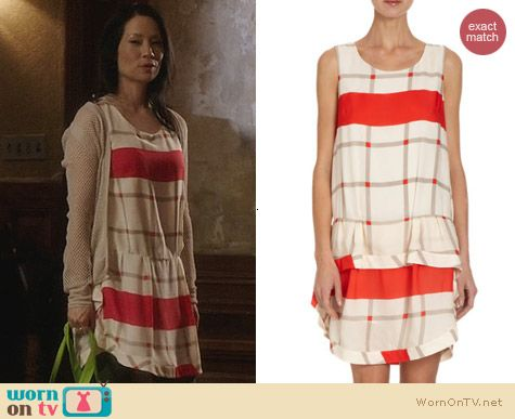 Thakoon RuffleD Tiered Bottom Check Dress worn by Lucy Liu on Elementary