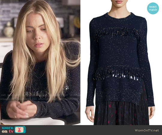 Thakoon Sequined Fringe Shimmer Sweater worn by Ashley Benson on PLL