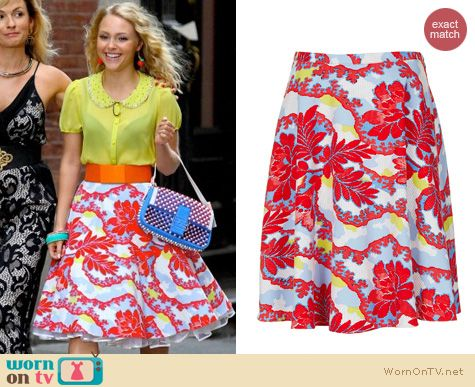 The Carrie Diaries Fashion: Topshop Portobello print calf skater skirt worn by AnnaSophia Robb