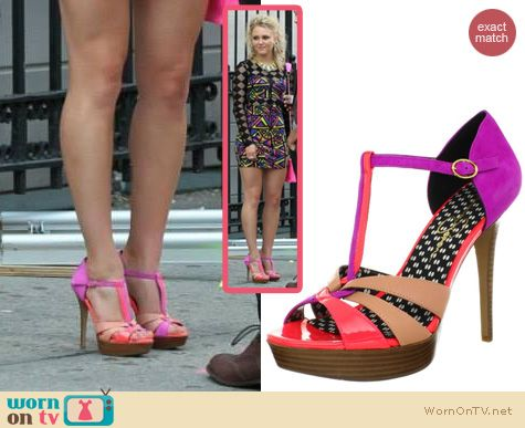 The Carrie Diaries Shoes: Jessica Simpson Bentley Fluorescent Papaya Combo Patent Heels worn by AnnaSophia Robb