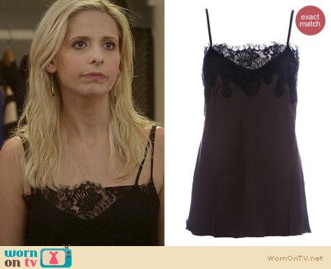 The Crazy Ones Fashion: Gold Hawk Silk Tank worn by Sarah Michelle Gellar