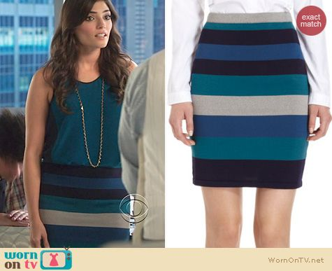 The Crazy Ones Fashion: Jonathan Simkhai Striped Skirt worn by Amanda Setton