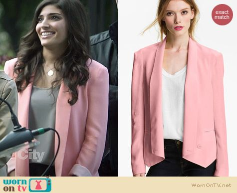 The Crazy Ones Fashion: Rebecca Minkoff Becky Jacket in pink worn by