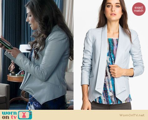 The Crazy Ones Fashion: Rebecca Minkoff Becky jacket in blue leather worn by Amanda Setton