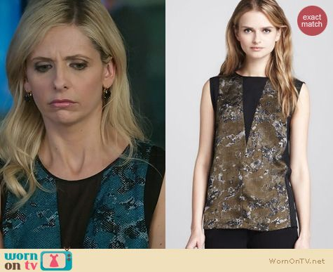The Crazy Ones Fashion: Robert Rodriguez Printed Panel Top worn by Sarah Michelle Gellar